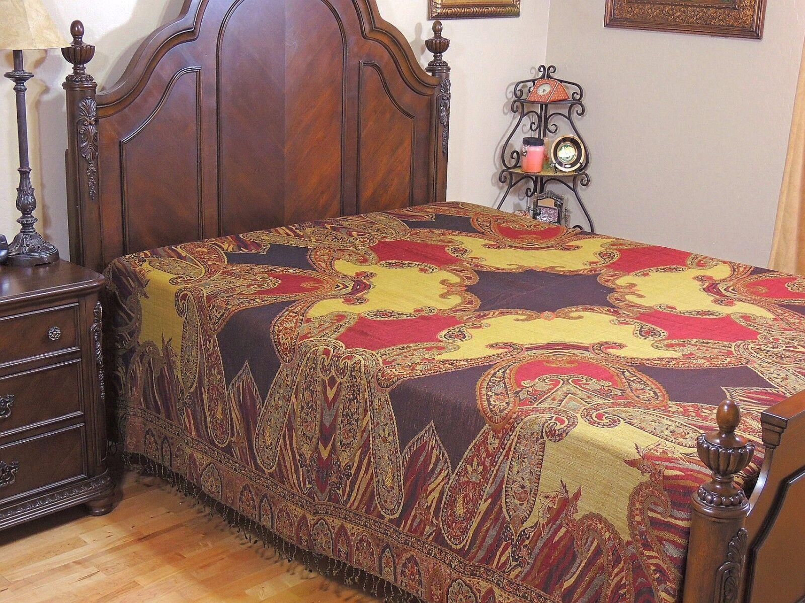 Multicolor Ethnic Kashmir Paisley Gulzar Wool Bedspread Cozy Queen Coverlet