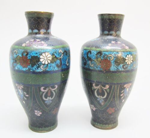 Fine Miniature Pair Of Antique Japanese Cloisonne Vases C 1880