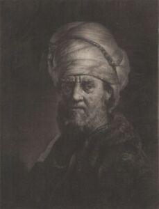 Rembrandt Homme au Turban Gravure Manière Noire Pieter Louw XVIIIème