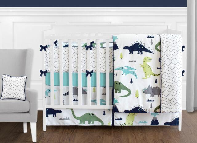 Sweet Jojo Dinosaurs Turquoise Blue Grey White Boy Baby Crib Bedding Set