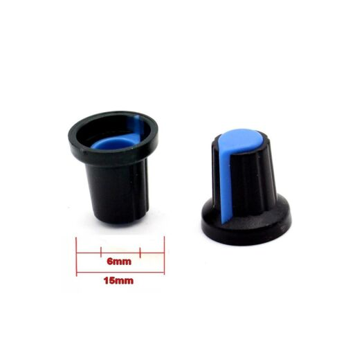 2x Bouchon potentiomètre 6mm plastique bleu 78pot027