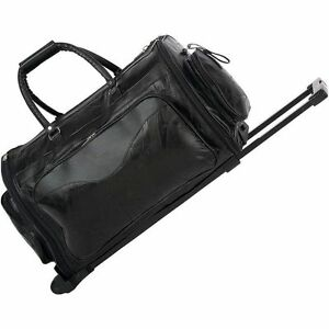 Leather 21 folding trolley duffle bag rolling carry on luggage tote suitcase ebay for Leather luggage wheeled duffel