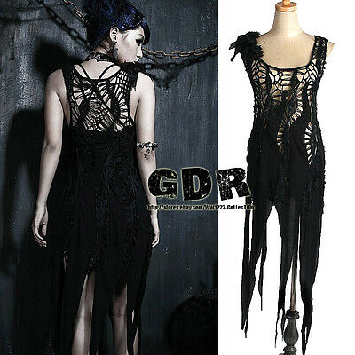 PUNK RAVE SKULL GOTHIC SLEEVELESS LOLITA BLACK M021 DRESS