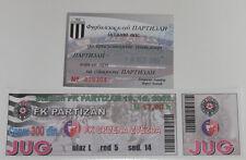 Ticket for collectors 2x Partizan - Crvena zvezda Beograd Serbia 2002