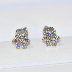 Diamant-Ohrstecker-0-62-ct-in-750er-Weissgold-18K-Pave-Ohrringe-Illusion-Stern