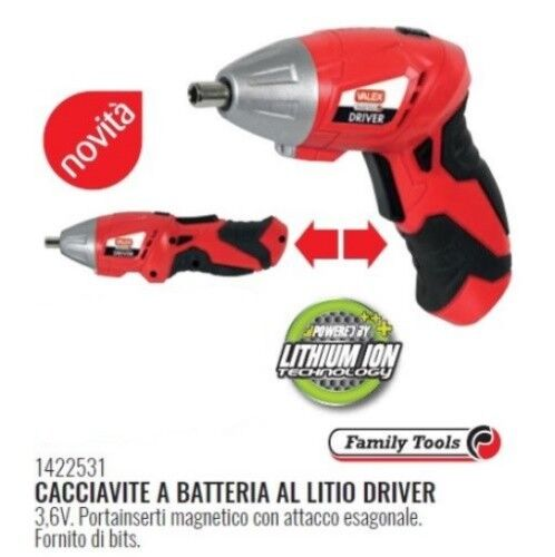 CACCIAVITE A BATTERIA  AVVITATORE AL LITIO DRIVER REVERSIBILE 3,6V 1422531 VALEX