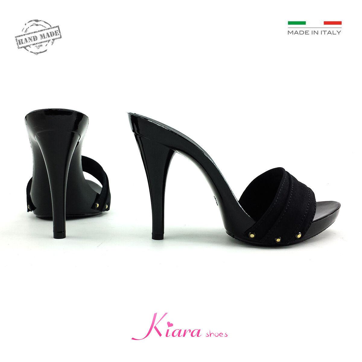Zoccoli Neri -Made in 42 Italy- dal 35 al 42 in  - Tacco 12 cm - KM7501 b30901