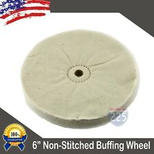 "8/"" x 50 ply LEAD METAL center HOLE White LOOSE COTTON polishing buffing wheel"
