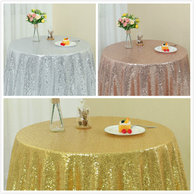 New Sequin Tablecloth 48/'/'-132/'/' Round for Wedding//Dessert Dinning Table