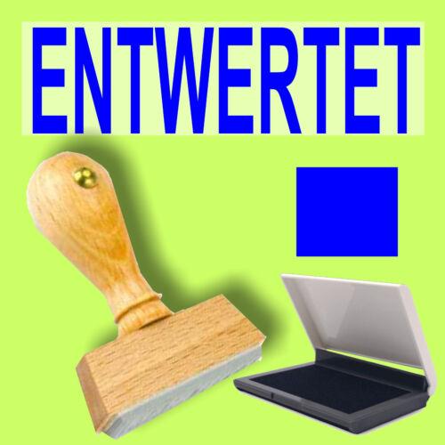ENTWERTET Holzstempel 10 x 35mm Büro Stempel S1F blau Stempelkissen