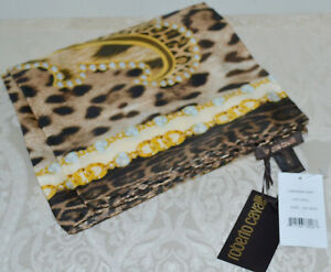 2afe84d100d82 NWT $298 ROBERTO CAVALLI Logo Animal Print Brown Tan Gold Silk Twill ...