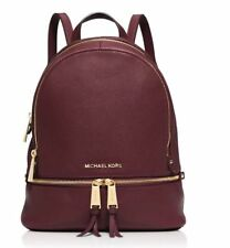 Michael Kors Rhea Leather Merlot Wine Red Backpack Medium 100 Authentic Handbag