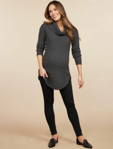TIME /& TRU MATERNITY Skinny LEGGING DENIM BLACK JEANS Size Large Fits 12 14