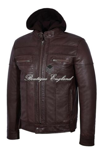 in 8344 Giacca Bikers Clark Mens vera pelle Stylish morbida Hooded Casual Brown XqPwqY0