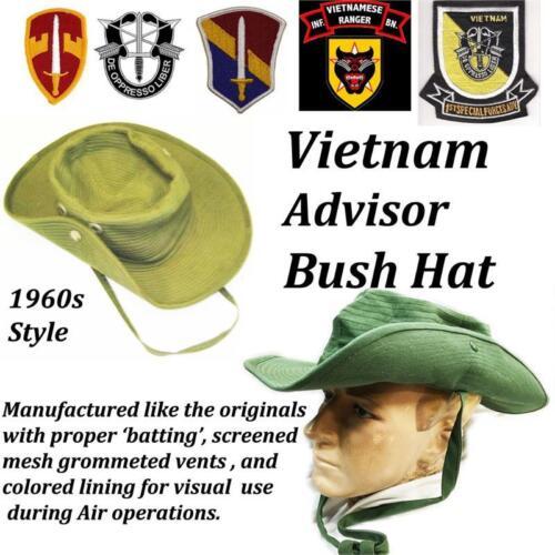Size 7-1//2 US Military Khaki Vietnam Advisor/'s Bush Hat