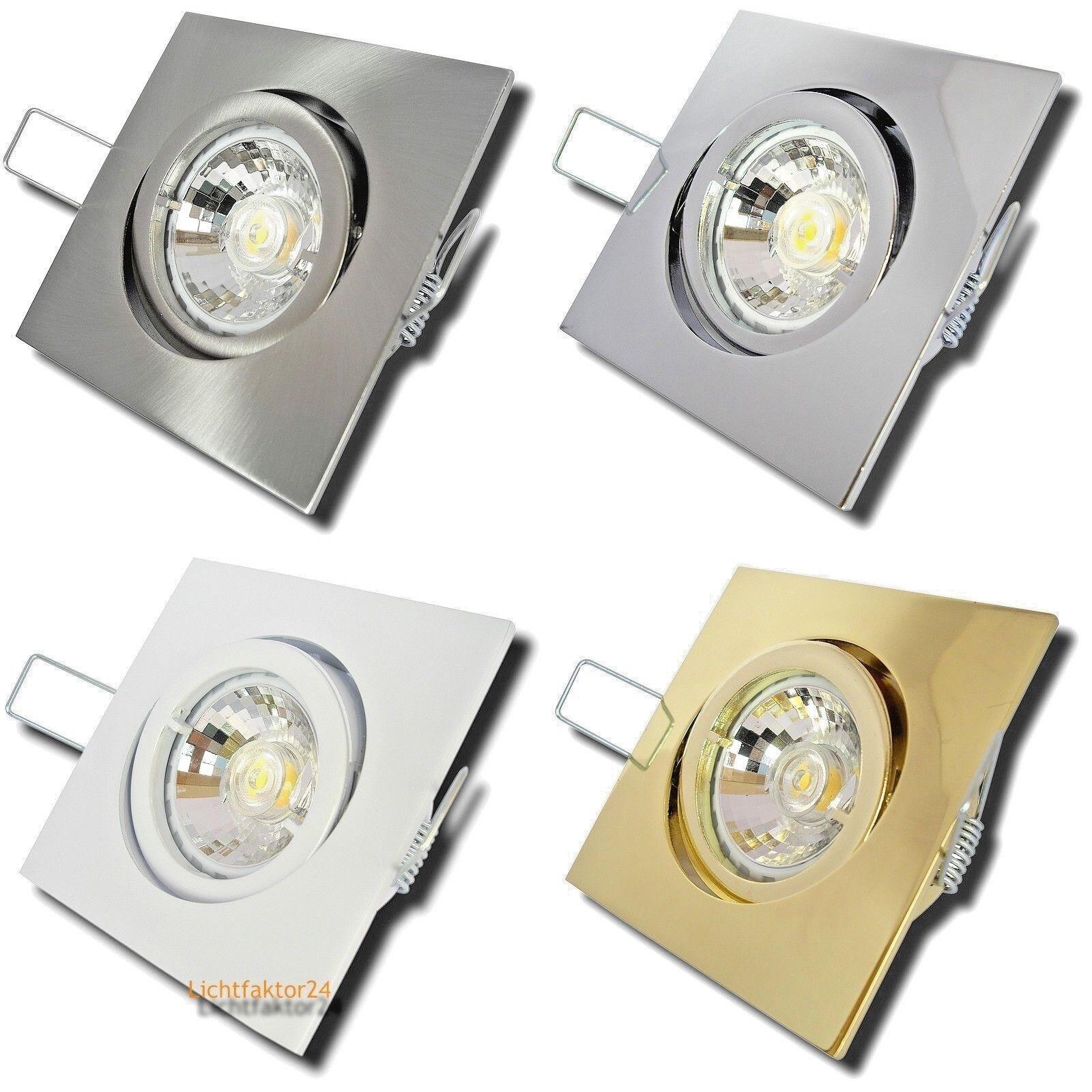 7W LED Leuchten Sets Dimmbar 230Volt Schwenkbar Quadratisch Gu10 Einbaustrahler