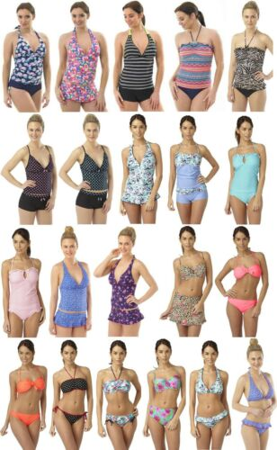 Damen Hot Honi Tankini Bikini Bademode Tenue De Plage Neckholder Größen 10-16