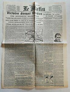 N959-La-Une-Du-Journal-Le-Matin-25-octobre-1916-victoire-devant-Verdun