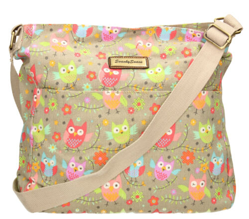 SWANKYSWANS Womens Ladies Crossbody Owl Canvas Day School Satchel Designer Bag