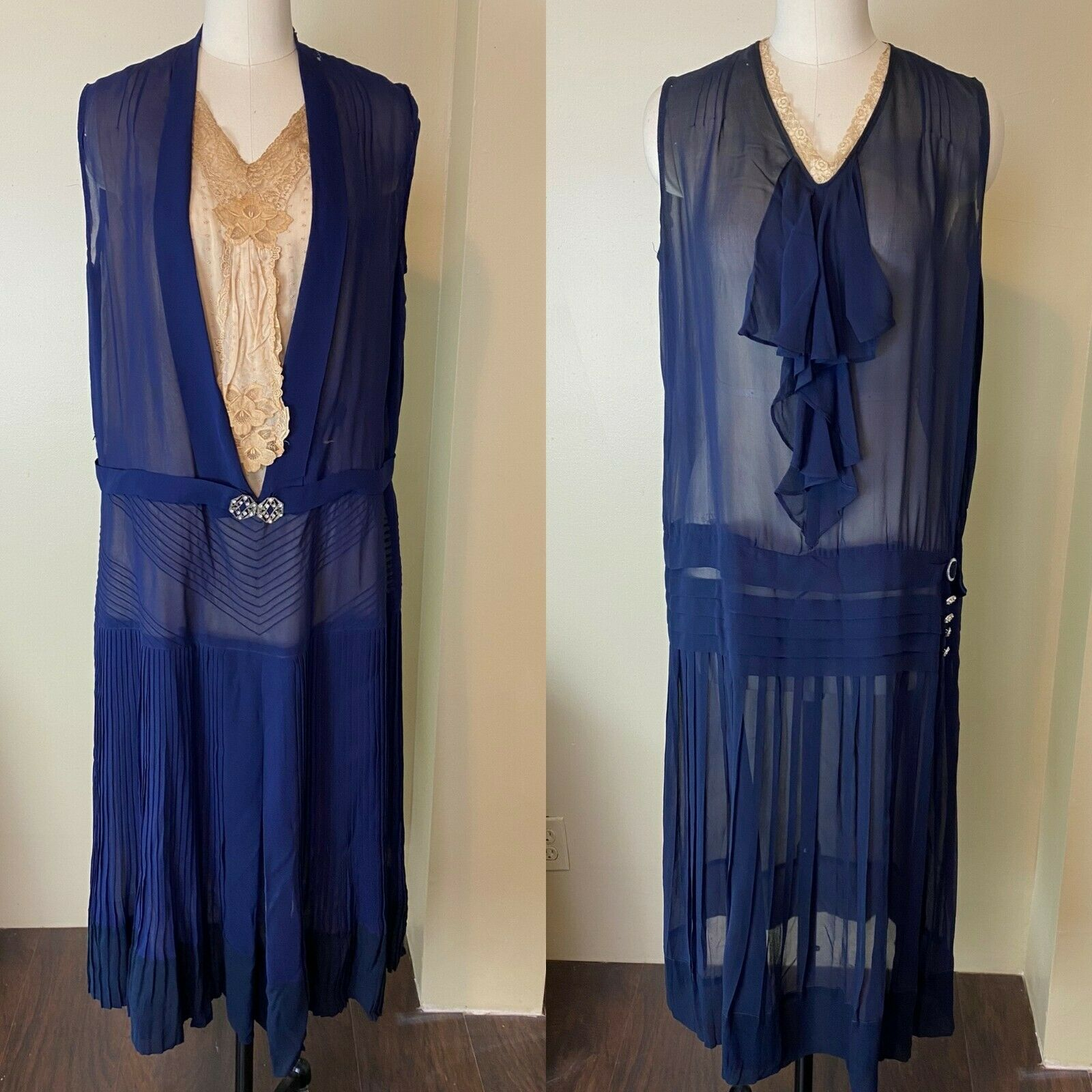 Vintage 1920s Blue Silk Chiffon Dress Lot of 2 - image 1