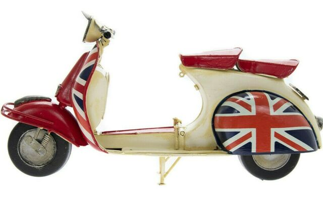 Vespa Scooter TinPlate Model 16cm Red Colour With Union Jack