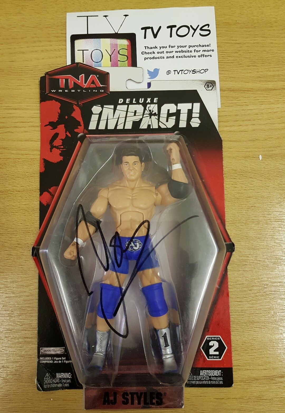 TNA Deluxe impact AJ Styles series 2 Wrestling figure  Signed Cargraph