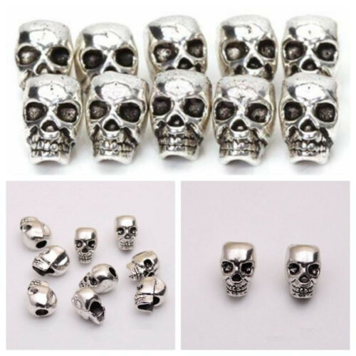Metal Charms DIY Spacer Beads Antique Silver Skull Head Jewelry Making