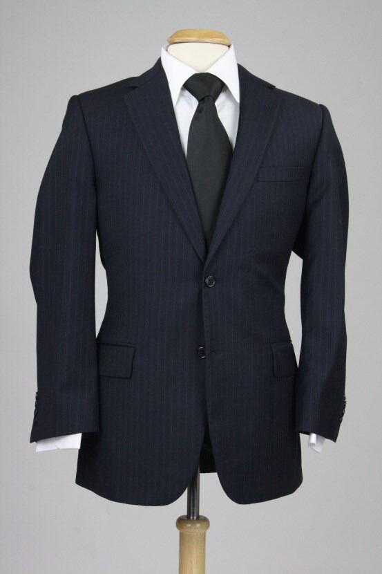 Jos A Bank Navy Pinstripe 100% Wool Sportcoat Blazer 42 R
