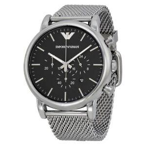 EMPORIO-ARMANI-AR1808-Classic-Chronograph-Black-Dial-Men-039-s-Wrist-Watch