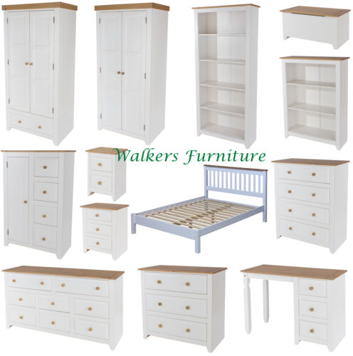 Capri White /& Pine Bedroom FurnitureWardrobesChestsDressing TableBed