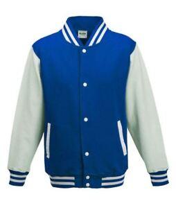 Royal-Blue-amp-White-Unisex-Adult-Varsity-Baseball-Sports-Knitted-Cuffs-Jacket