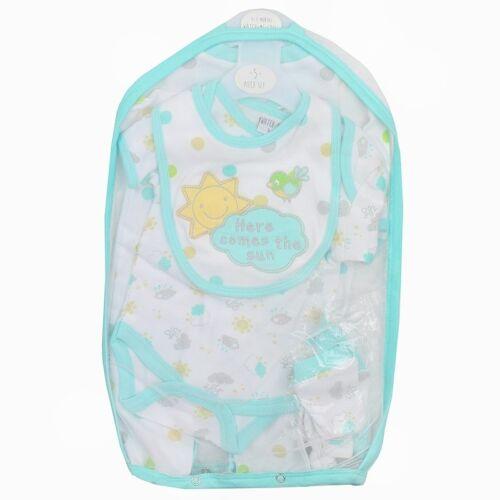 Babero de Bebé Chicos Chicas Babygrow Chaleco Sombrero cero manoplas 5PC Starter Conjunto de Regalo Paquete