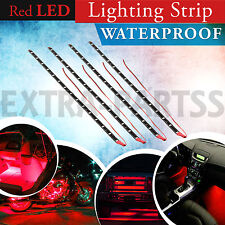 Red 4pcs 30CM/15 LED Car Motors Truck Flexible Strip Light Waterproof 12V