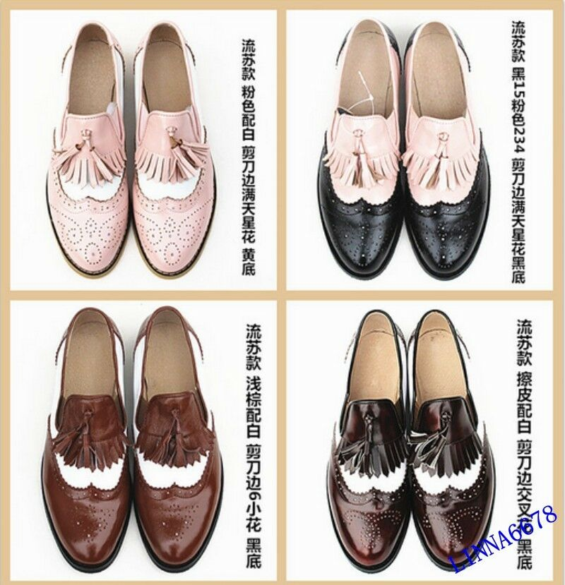 Donna British Retro Slip On Brogue Flat Oxfords Wing Tip Tip Tip Leather scarpe Tassels 7c4dc1