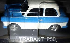 Trabant-P50-Azzurra-Tetto-Bianco-Scala-1-43-DeAgostini-Nuova