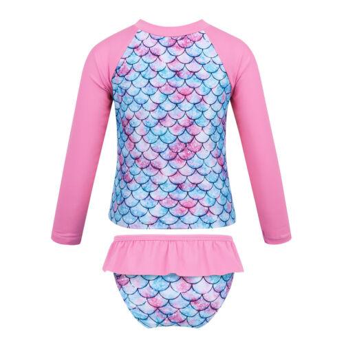 Girl Boy Long Sleeve Swimsuit Swimwear Kid UV Protective Rash Guard Bathing Suit