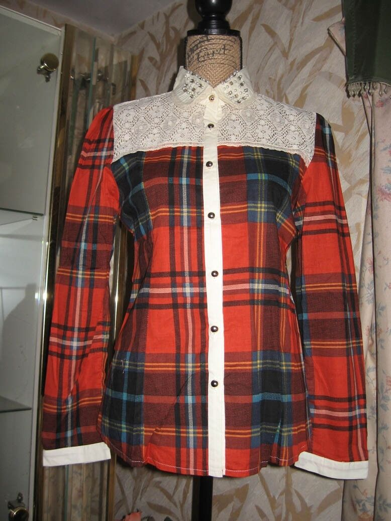 Forest Girl Red Plaid Shirt w Lace Beaded Collar