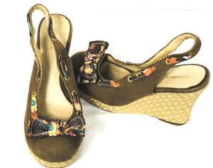 XHILARATION-Womens-Platform-Wedge-Sandals-Brown-Floral-Bow-High-Shoes-Sz-9-F4
