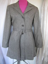 Hennes Collection Brown Tweed Wool Blend Jacket Trench-coat Sz 38/8 (AA45-5D)