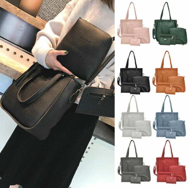 4PCS Women Ladies Leather Handbag Shoulder Tote Purse Satchel Messenger Bag UK