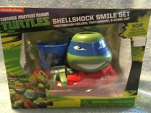 NEW Toothbrush Shellshock Smile Set Ninja Turtle LEONARDO Holder Rinse Cup Pack