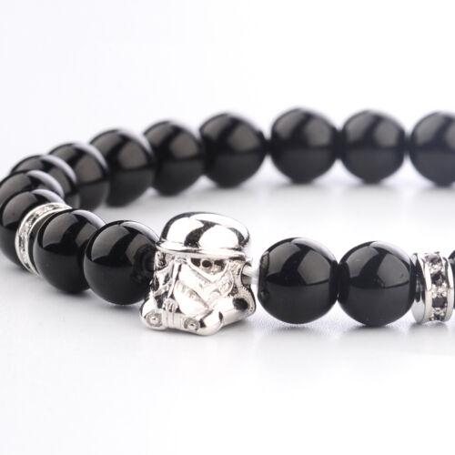 STARWARS Cosplay Stormtrooper Bracelet 8 mm ONYX PERLES charme hommes bracelets
