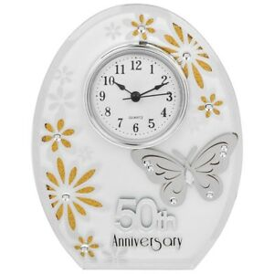 Details About Wedding Anniversary Mirror Clocks 25th Silver 30th Pearl 40th Ruby 50th Gold