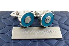 Montegrappa Piacere Stainless Steel & Cyan Blue Inlay Gunmetal Emblem Cufflinks