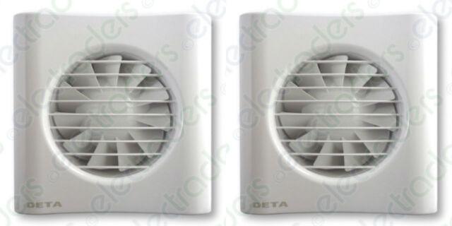 2 x Deta 4601 Axial Extractor Fans 4 Inch / 100mm (Timer Model)