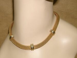 Vintage 80/'s Gold Tone Mesh Flower Necklace Adjustable Choker Rose Costume Jewelry