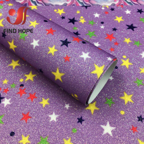 A4 Star Glitter Faux Leatherette Vinyl Fabric Sheet Hair Bow DIY Decor Crafts