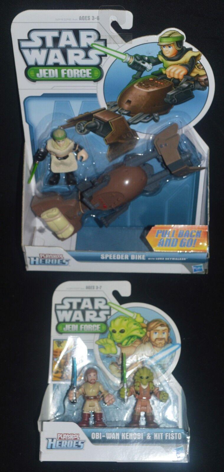 STAR WARS Jedi Force OBI-WAN & KIT FISTO and LUKE SPEEDER Playskool Heroes MIP