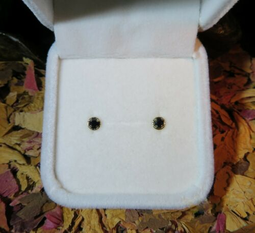 Natural Australian Midnight Sapphire solid 9k yellow gold stud earrings Details about  /HOT