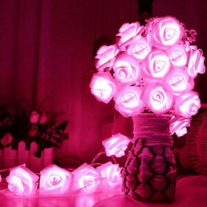 Image is loading 20-LED-Rose-Flower-Fairy-Wedding-Garden-Party-